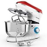 Freihafen Robot de cocina, amasadora, 1400 W, con bol de acero inoxidable de 5,5 L, varillas,...