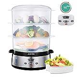AICOK Vaporera eléctrica, Cocina Lenta de 9 litros con Pantalla LED de Temporizador 90 Minutos, 3...
