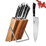 AICOK Juego de bloques de Cuchillo cocinero profesional   6 piezas   Extra fuerte   acero inoxidable...