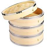 Vobeiy Vaporera Bambu con Tapa 3 Niveles,Premium Natural Vapor Bambu con Bandas de Acero...