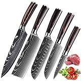 KEPEAK Cuchillo de Cocina, Cuchillos de Cocina Afilados de Acero Inoxidable de Diferentes Tamaños...