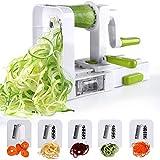 Sedhoom Espiralizador de Vegetales Cortador de Verduras de 5 Cuchillas,Doblado Espiralizador de...
