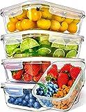 Recipientes de Vidrio para Alimentos (Juego de 5 x 1000ml) Prep Naturals - Envases de Cristal con...
