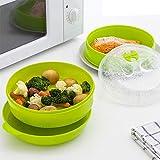 Vaporera Doble Microondas Cocinar Vapor Verduras Olla Rápida