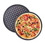 Relaxdays Juego de 2 Bandejas Pizza Horno Redondas, Antiadherentes y Perforadas, Acero al Carbono,...