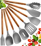 Juego Utensilios de Cocina de Silicona - 8 Piezas Utensilios de Cocina Madera Resistentes al Calor y...