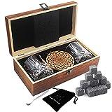 AYAOQIANG Juego de Vasos de Whisky - 16 Caja de Regalo de Piedra de Whisky - Clips de Rocas...