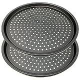 Space Home - Molde para Pizza con Agujeros - Acero al Carbono - Recubrimiento Antiadherente - Set de...
