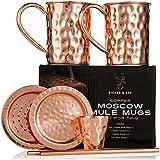 Tazas de Cobre de Moscow Mule Juego de Cuatro Incluye 2 x Tazas de 16 Onzas 2 x Posavasos 2 x...