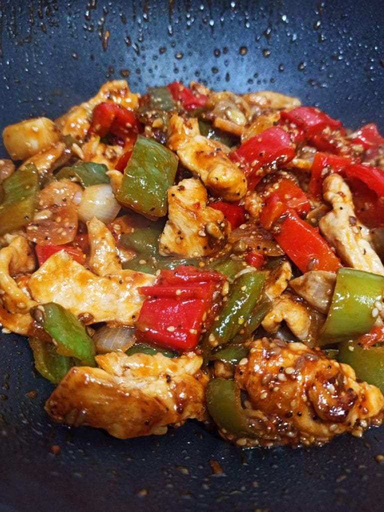 wok de pechuga y pimientos