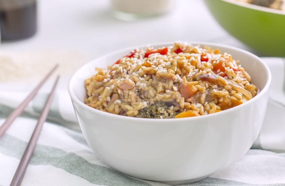 arroz con verduras al vapor